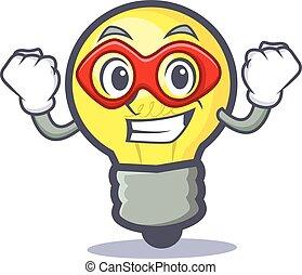 Super hero light bulb character cartoon