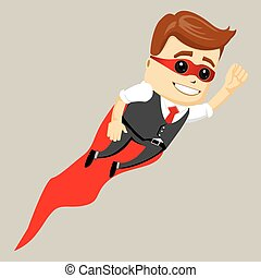 Super hero male businessman, vector illustration.