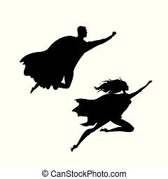 super hero man and woman  silhouette,isolated on white background
