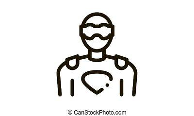 Super Hero Man Icon Animation. black Super Hero Man animated icon on white background