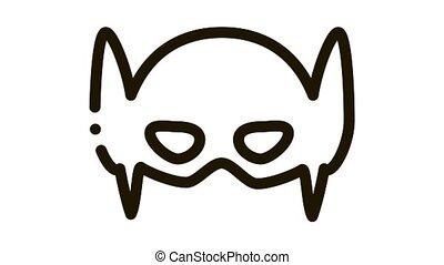 Super Hero Mask Icon Animation. black Super Hero Mask animated icon on white background