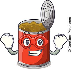 Super hero metal food cans on a cartoon vector illustration