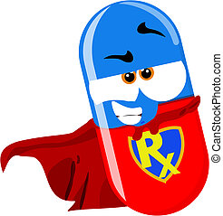 super hero pill - cartoon super pill