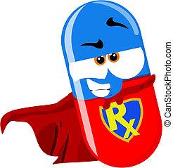 super hero pill - cartoon super pill