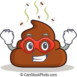 Super hero Poop emoticon character cartoon