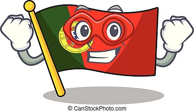 Super hero portugal flag folded on cartoon table