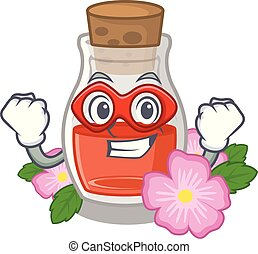 Super hero rosehip seed oil isolated in character vector ...