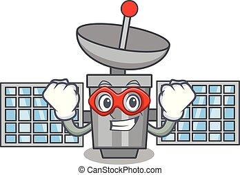 Super hero satelite character cartoon style