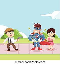 super hero saving girl from mafia