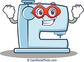Super hero sewing machine emoticon character