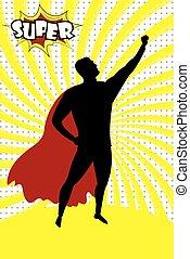 Super Hero silhouette and text SUPER in retro comic pop art style