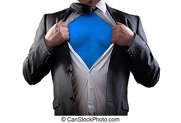super hero - Businessman super hero isolated on white...