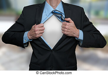 Super Hero - Businessman tearing his shirt and suite open...