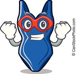 Super hero swimswuit in the a cartoon shape