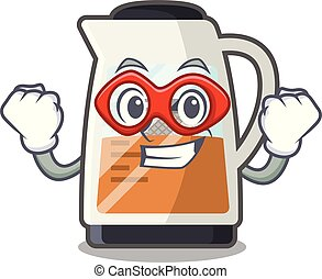 Super hero tea maker in the cartoon shape