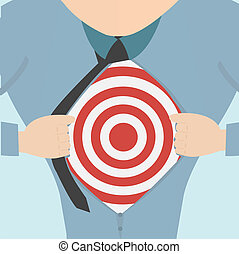 Super hero tearing open his shirt to reveal an business target