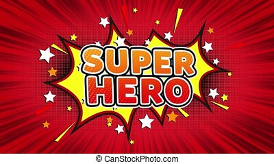 Super Hero Text Pop Art Style Expression. Retro Comic Bubble Expression Cartoon illustration, Isolated Flat Cartoon Comic Style on Green Screen