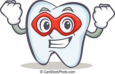 Super hero tooth character cartoon style