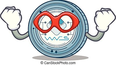 Super hero Waves coin character cartoon