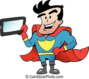 Super Hero with a Tablet