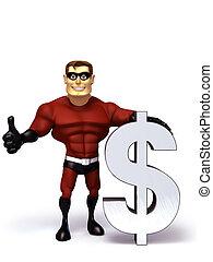 Super Hero with Dollar symbol