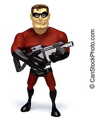 Super hero with super gun