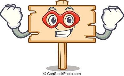 Super hero wooden board character cartoon
