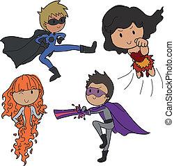 super heroes - set of different cartoon action heroes