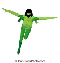 Super Heroine Illustration Silhouette