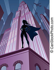 Super Heroine in City - Super heroine watching over the...