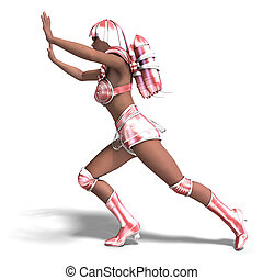 super heroine with pink retro outfit - 3D rendering of a...