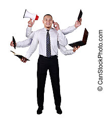 super, homem negócios, multitasking