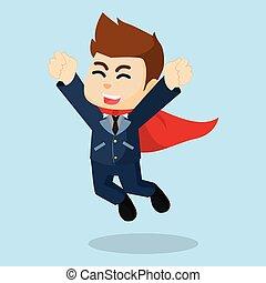 super, homem negócios, salto, feliz