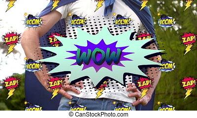 super, homme, superhero, flinguer, texte, contre, bulle, parole, boom, déguisement