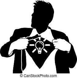 Super idea man concept - A businessman tearing open his...