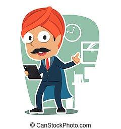 super, indiano, uomo affari, presa a terra, tavoletta