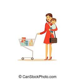 super, indkøb, mor, cart, barn