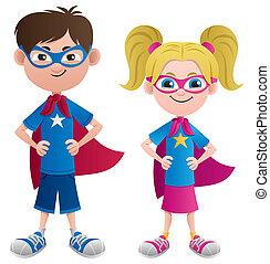 Illustration of 2 super kids: Super boy and super girl. No transparency used. Basic (linear) gradients.