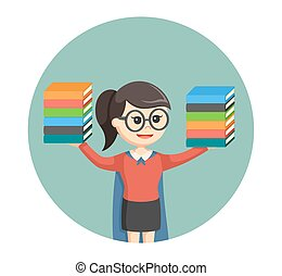 super librarian girl in circle background