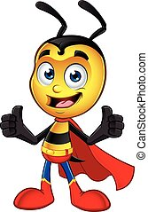 Super Little Bee - A cartoon illustration of a cute looking...