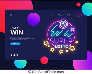 Super Lotto Horizontal Web Banner Vector. Gambling Advertising banner web interface in modern trend design, neon style, bright night advertising, design template. Vector illustration