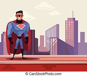 Super man hero character standing on roof. Vector flat cartoon illustration