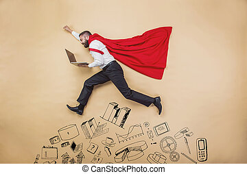 Super manager - Manager with coat of superman. Superhero in...
