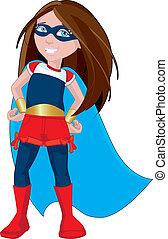 super, menina, herói