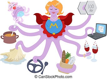 Super Mom - A Vector Illustration of an octopus mother...