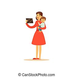 Super mom character with child, holding the tablet