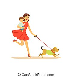 Super mom character with child, walking a dog