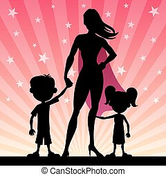 Super Mom - Super mom with her kids. No transparency used....