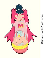 Super Mom. Superhero mother carrying a baby.