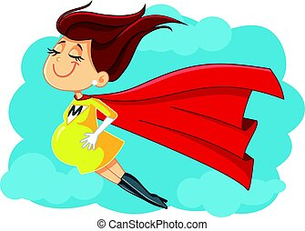 Super Mom Vector Cartoon Illustration - Drawing of a...